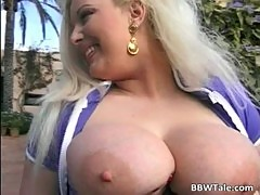 Unbelievable busty blonde slut sucks