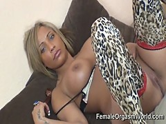 Sexy and Sultry Miss Romana Ryder Stimulates Her Clit to Orgasm