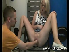 Hot blond babe loves being fist fucked