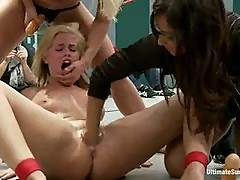 Tara takes on three as Isis Love steps in and brings a brutal fisting to Tara's shaved pussy!