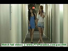 Tamara and Lacie sexy lesbian couple flashing and licking tits and toying pussy outdoors