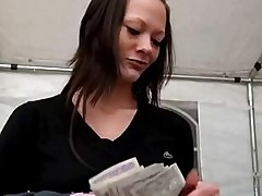 Pretty amateur slut takes money and gets banged