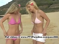 Sandy and Yana pleasant stunning lesbian teens posing