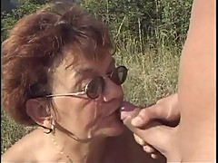 Granny Gets Fucked By Young Lad In The Woods - POR