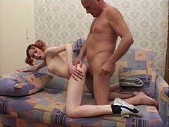 Grandpa and skinny Teen