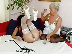 Hairy Granny Licks Hot Milf In Lesbian Action