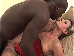 Hot blonde milf babe banged by big black cock