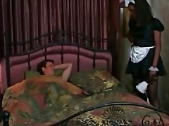 Bijan black maid in uniform gets drilled