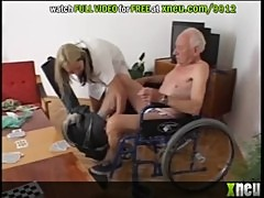 Sensual Blonde Nurse Gets Fucked By Old Fart On A Wheel Chair