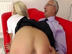 Her pussy gets stuffed with old man cock that rocks her world