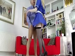 Super blonde tall chick rides some old man cock on couch