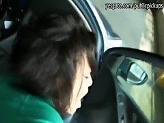 Nasty Czech girl flashes her big tits and banged at the car park