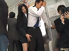 Naughty Saori Hara pleases a guy in the subway