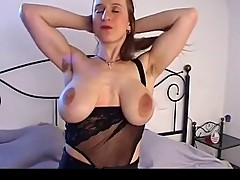 Busty girl with big saggy tits & hairy pussy masturbates