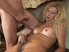 Blonde shemale Esmeralda plays dirty games with Tom Moore