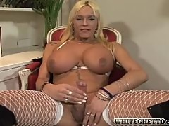 Smoking hot shemale babe gets naked and jerks off her cock