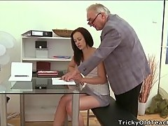 Sexy Brunette Student Having Sex with the Old Teacher's Cock