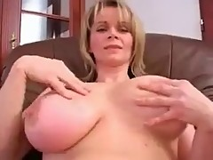 Busty Blonde Solo in Pink