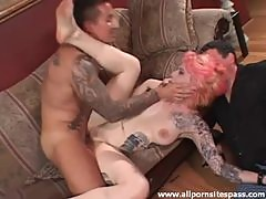 Tattooed girl fucked aggressively as cuck watches