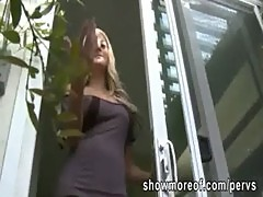Huge boobs hottie lets a peeping tom fucks her pussy after she caught him spying