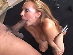 Tiana Lynn sucks a huge black cock and gets a cumshot on her chin